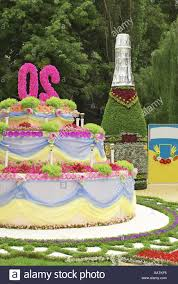 Birthday Cake And A Bottle Of Champagne From Flowers Stock Photo