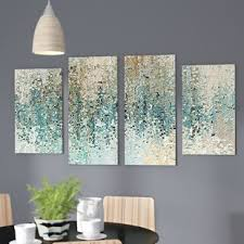 revealed framed 4 piece set on canvas on seafoam green and gold wall art with abstract wall art you ll love wayfair