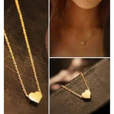 cute gold heart shape pendant necklace