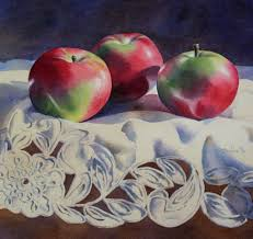3 macintosh apples step by step watercolor painting tutorial just scroll down the linked page for a tutorial by barbara fox represented by the oxford