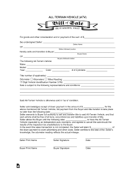 Generic Bill Of Sale Form All Terrain Vehicle Atv Bill Of Sale Form Eforms Free Fillable