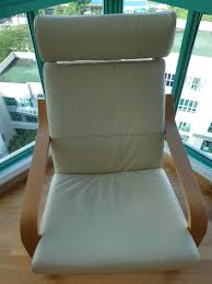 ikea poang cream eggshell leather chair and footstool furniture tables chairs on carou