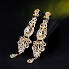 8 of 11 ik long crystal drop earrings diamante bridal chandelier rhinestone dangle prec