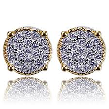 hip hop jewelry gold and silver iced out bling back stud earrings for men and women