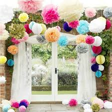 5pcs multi color 10inch paper flowers kissing ball wedding home