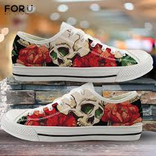 Floral Design Shoes For Ladies Us 26 0 49 Off Forudesigns 3d Skull And Rose Printed Womens Shoes Floral Pattern Low Top Ladies Shoes Spring Autumn Woman Vulcanized Sneakers On