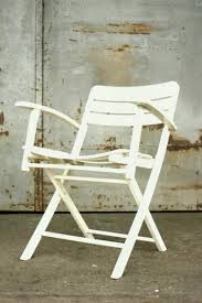 vintage folding garden chairs in white lacquered wood from herlag set of
