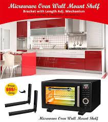microwave oven wall mount shelf bracket with length adj mechanism 2 nos brackets installation accessories