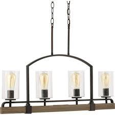 progress lighting grove collection 4 light vintage bronze linear chandelier p7923 123