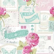 Paris Wallpaper Bedroom Floral Wallpaper Rose Postcard Modern Retro Pinterest Pink