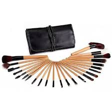 mac 24 piece professional makeup brush set in leather pouch uk