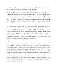 audi jubilant motorworks press release the 2 capacity