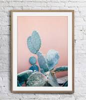 blue cactus pink wall art poster print canvas plants wall decor pictures home decor posterunframe 16 24 36 47 inches on cactus wall art nz with pink floral wall art nz buy new pink floral wall art online from