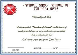 Cooking Certificate Template Custom Culinary Arts Program Certificate Cook Certificate In 48