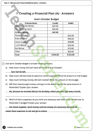Teaching Budgeting Worksheets Money And Financial Mathematics Worksheets Year 5 Teaching