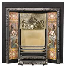 stovax art nouveau tiled fireplace front