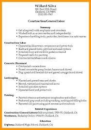 Construction Carpenter Job Description Resume General Laborer Cover