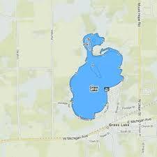Vineyard Lake Depth Chart Grass Lake Fishing Map Us_mi_38_134 Nautical Charts App