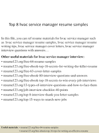 Hvac Resume Samples top60hvacservicemanagerresumesamples60lva60app66092thumbnail60jpgcb=60603605797360 50