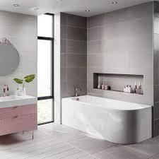jasmine corner back to wall j shaped shower bath panel 1700 x 750mm
