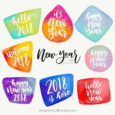 Watercolor new year 2018 badge collection in different colors