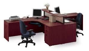 office desk for two. Desk Design Ideas, Home Office For Two Pictured Cherry Person Workstation With Divider Finish G