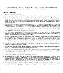 Consultant Contract Template Impressive 44 Sample Construction Contract Templates Free Sample Example