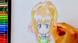 Tuto Dessin 16 Crayon De Couleurs Hana De Face 4 Cheveux Youtube