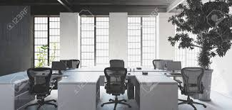 empty white desks with chairs in modern minimalist interior office against big bright windows and huge architecture s45 architecture