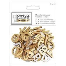 embellishments verzierungen 81 letters in wood with metallic print