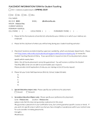 placement information form for student teaching yes i