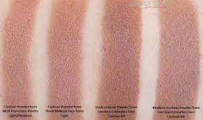parison of contour powders from mur protection palette light um sleek face form light and luscious face contour kit