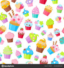 Cupcakes Vector Seamless Pattern Background Stock Vector