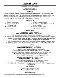 Bookkeeper Resume Examples