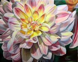 yellow pink dahlia oil painting