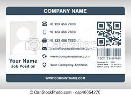 Simple Blue Employee Id Card Template Vector