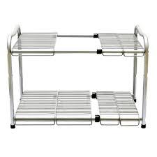 Ss Steel 2 Tier Under Sink Expandable Kitchen Storage Tidy Kitchen