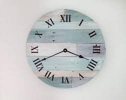 reclaimed wood wall clock pallet wood clock rustic beach wall clock 16 wooden beach decor clock shabby chic clock nautical theme clock for beach