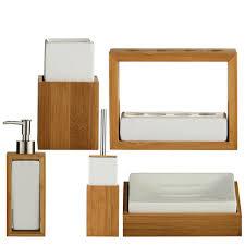 Wooden Bathroom Accessories Set White Ceramic Wooden Bamboo Sink Bathroom Accessories Set Brand