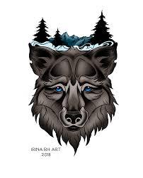 волк эскиз татуировки