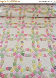 15 best Double Wedding Ring Quilts images on Pinterest | Double ... & Double Wedding Ring Quilt, Hand Made Quilt, Country Quilt, Traditional Quilt,  Quilted Bedspread, Patchwork Quilt, Pink and Green Quilt Adamdwight.com
