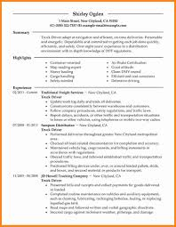 Truck Driver Resume Samples First Resume No Work Experience