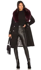 soia kyo juliana fox fur trimmed wool coat in black maroon