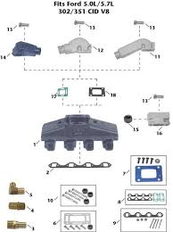 universal ford v8 5 0l 5 7l inboard exhaust manifold exploded universal ford v8 5 0l 5 7l inboard exhaust manifold exploded view