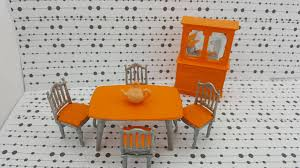 dining room table chairs hutch dollhouse hard plastic hong and orange silver collectors white buffet argos