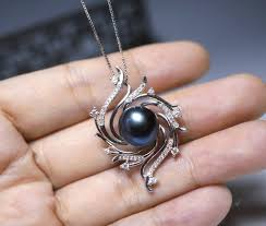necklace natural freshwater black pearl pendant gallery photo gallery photo