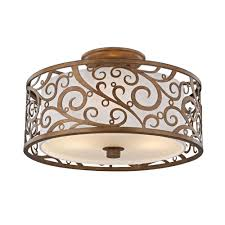 fifth and main lighting 3 light burnished gold semi flush mount with