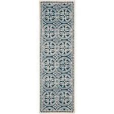 cambridge navy blue ivory 3 ft x 14 ft runner rug
