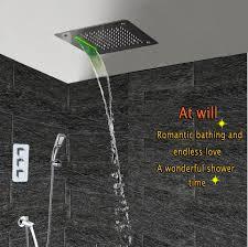 Großhandel Bad Duschset Unterputz Thermostat Duscharmaturen Wandmontage Niederschlag Wasserfall Nebel Led Quadrat Decke Badarmaturen System Von