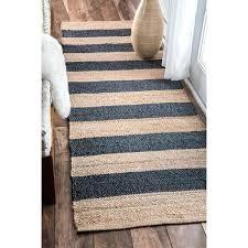 handmade natural fiber jute blue thick stripes runner rug nuloom rugs furniture row denver runner rug inspirational
